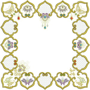Jewelled Motif Borders Set 1 - Borders A, B, C, D - Embroidery Motif - 18 - Metallic Thread designs by Sue Box