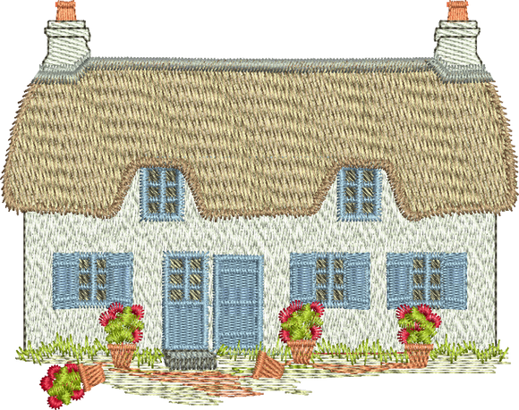White Cottage Embroidery Format - 18 -  Traditional Homes and Gardens - by Sue Box
