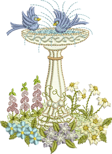 Bird Bath A Embroidery Motif - 19 - Creative Floral Gardens by Sue Box