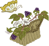 Blackberry Basket and Butterfly Embroidery Motif - 19 - Woodland Treasures -  by Sue Box