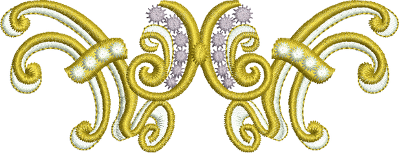 Gold Design Embroidery Motif - 19 - Endearing Embroidery design by Sue Box