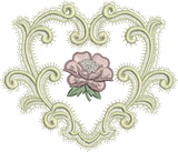 Heart and Rose Embroidery Motif - 19 -  A Romantic Era - by Sue Box
