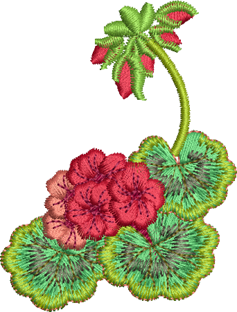 Geranium Corner 2 Embroidery Motif - 20 -  Traditional Homes and Gardens - by Sue Box