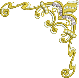 Gold Corner Embroidery Motif - 20 - Endearing Embroidery design by Sue Box