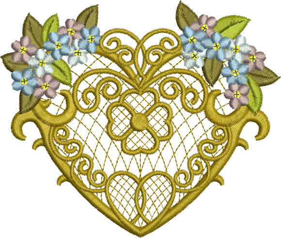 Love Heart and Flowers Embroidery Motif - 20 -  Everlasting Embroidery - by Sue Box