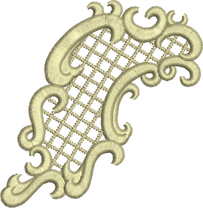 Applique Scroll Embroidery Motif - 20 -  Floral Illusions - by Sue Box