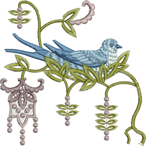 Blue Bird 2-Nesting Embroidery Motif - 21 -  Everlasting Embroidery - by Sue Box