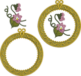 Antique Circle Design Set with flowers Embroidery Motif - 21 -  Floral Illusions - by Sue Box
