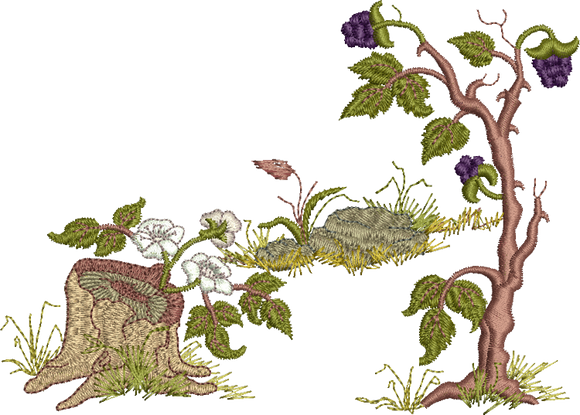 Blackberries and Brambles Embroidery Motif - 21 -  Woodland Treasures - by Sue Box