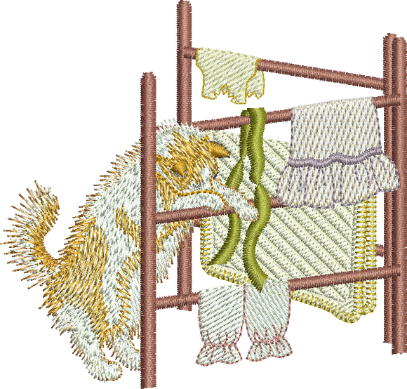 Kitten and Clothes Horse Embroidery Motif - 21 - Creative Little Homemakers by Sue Box