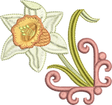 Daffodil Flower Motif 1 Embroidery Motif - 21 -  Embroidery Favourites by Sue Box