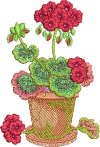 Geranium In Pot Embroidery Motif - 21 -  Traditional Homes and Gardens - by Sue Box