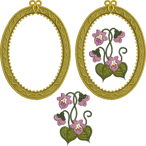 Applique Antique Oval 3 Design Set Embroidery Motif - 22 -  Floral Illusions - by Sue Box