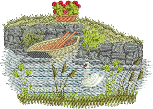 Canal Bank Scene Embroidery Motif - 22 -  Traditional Homes and Gardens - by Sue Box