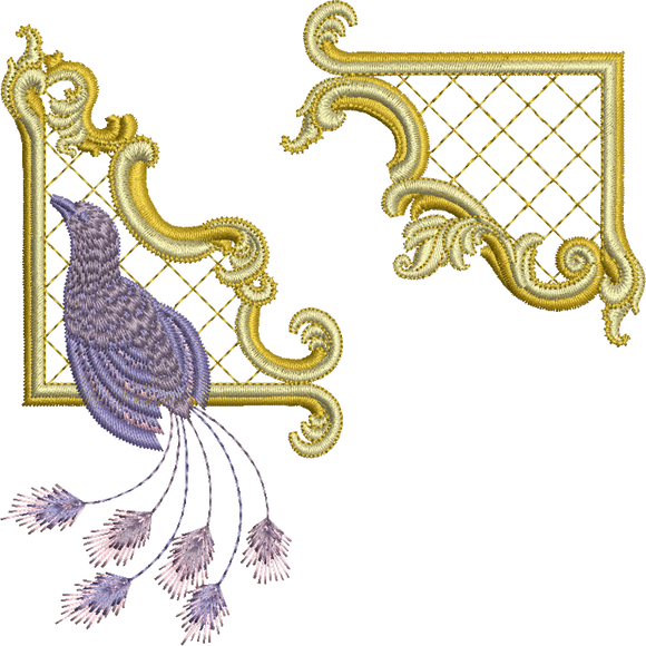Gilt Frame 2 and Bird Set Embroidery Motif - 22 - Golden Classic - by Sue Box