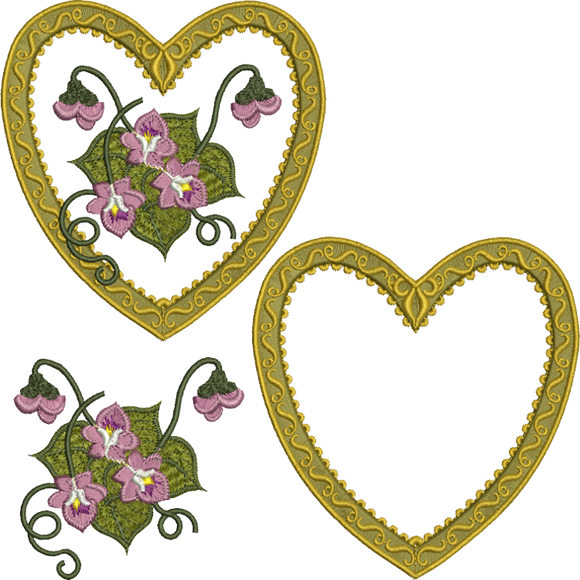 Applique Antique Heart Design Set Embroidery Motif - 23 -  Floral Illusions - by Sue Box