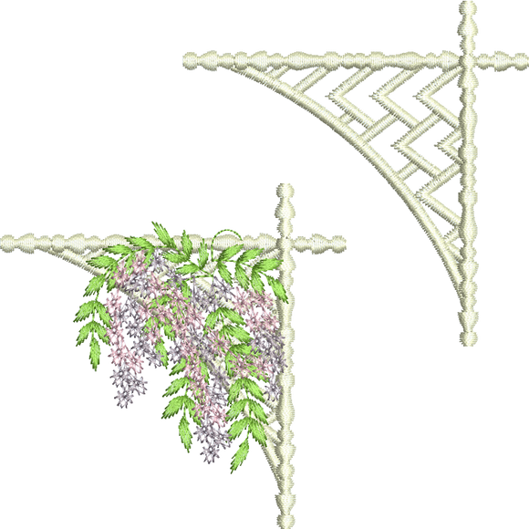 Floral Corner 3 and Lattice Corner Embroidery Motif - 23 - Creative Floral Gardens by Sue Box
