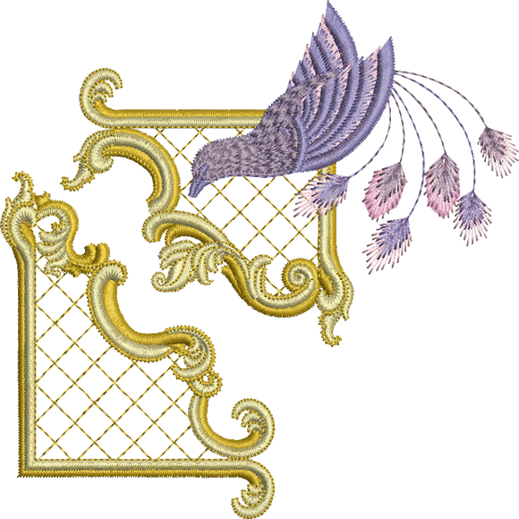 Gilt Frame 3 and Bird Set Embroidery Motif -23 - Golden Classic - by Sue Box