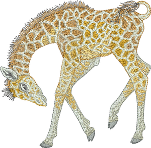 Giraffe Play Embroidery Motif - 23 - Zoo Babies by Sue Box