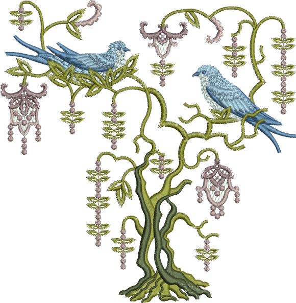 Blue Bird Bowery Embroidery Motif - 24 -  Everlasting Embroidery - by Sue Box