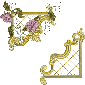 Gilt Frame 4 and Flowers Set Embroidery Motif - 24 - Golden Classic - by Sue Box