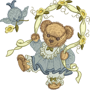 Teddy Bear Jessie Embroidery Motif - 24 -  Timeless Teddy Bear Treasures - by Sue Box