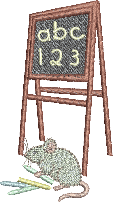 Mouse and Blackboard Embroidery Motif - 25 - Creative Little Homemakers by Sue Box