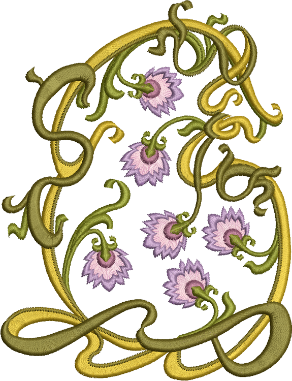 Persian Flowers Design Embroidery Motif - 25 -  Floral Illusions - by Sue Box