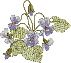 Fairy Violets Flower Embroidery Motif - 25 - Enchanted Fairy Treasures - by Sue Box