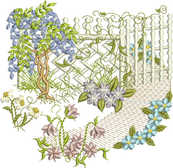 Floral Lattice Scene A Embroidery Motif - 26 - Creative Floral Gardens by Sue Box