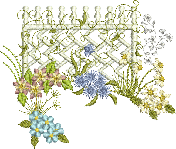 Floral Lattice Scene B Embroidery Motif - 27 - Creative Floral Gardens by Sue Box