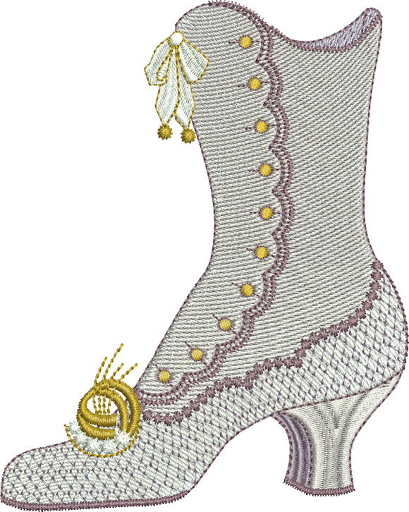 Dress Boot Embroidery Motif - 28 - Endearing Embroidery design by Sue Box