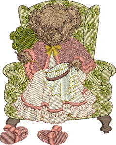 Teddy Bear Lady Oaks Embroidery Motif - 28 -  Timeless Teddy Bear Treasures - by Sue Box