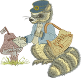 Raccoon - Robbie the Postman Embroidery Motif - 28 -  Woodland Treasures - by Sue Box