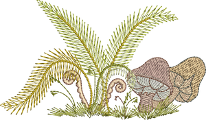 Ferns and Mushrooms Embroidery Motif - 29 -  Woodland Treasures - by Sue Box