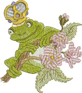 Fairy Frog Prince Embroidery Motif - 29 - Enchanted Fairy Treasures - by Sue Box
