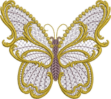 Old Gold Butterfly Embroidery Motif - 29 - Endearing Embroidery design by Sue Box