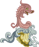Seahorse Design Embroidery Motif - 29 - Golden Classic - by Sue Box