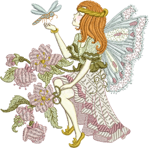 Fairy Blossom Embroidery Motif - 30 - Enchanted Fairy Treasures - by Sue Box