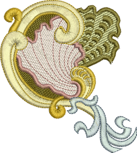 SeaShell 2 Embroidery Motif - 30 - Golden Classic - by Sue Box
