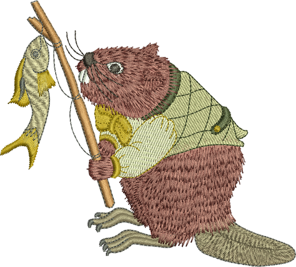 Beaver - Barney Beaver Fisherman Embroidery Motif - 31 -  Woodland Treasures - by Sue Box