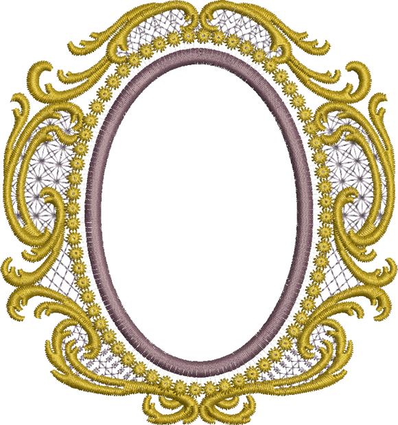 Old Gold Oval Embroidery Motif - 31 - Endearing Embroidery design by Sue Box