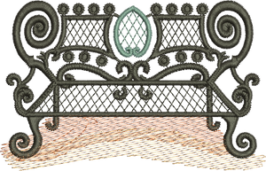 Wrought Iron Seat Embroidery Motif - 31 - Traditional Homes and Gardens - by Sue Box