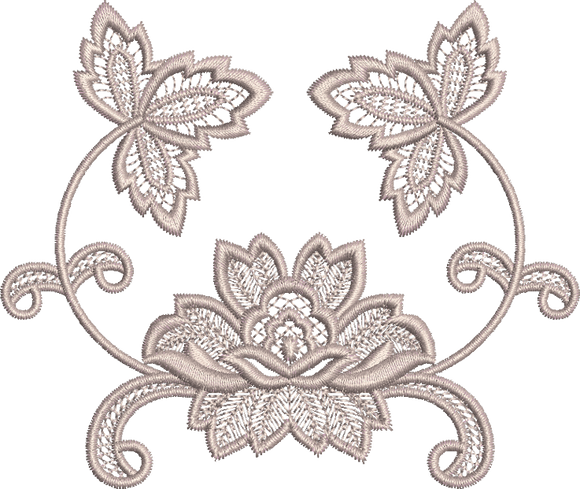 Fleur - Flower Embroidery Motif - 32 - Everlasting Embroidery - by Sue Box