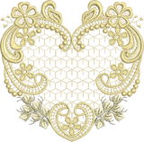 Golden Heart Embroidery Motif - 32 -  Embroidery Inspirations - by Sue Box