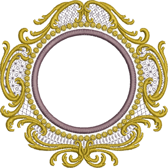 Old Gold Circle Embroidery Motif - 32 - Endearing Embroidery design by Sue Box