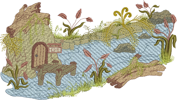 Brook Wilderness Scene Embroidery Motif - 33 -  Woodland Treasures - by Sue Box