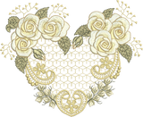 Rose Heart Flower Embroidery Motif - 33 -  Embroidery Inspirations - by Sue Box