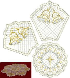 Christmas Bells Doily Set Embroidery Motif - 34 - Sparkling Christmas Collection by Sue Box