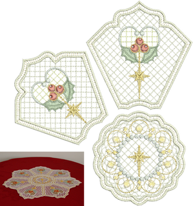 Christmas Holly Doily Set Embroidery Motif - 35 - Sparkling Christmas Collection by Sue Box